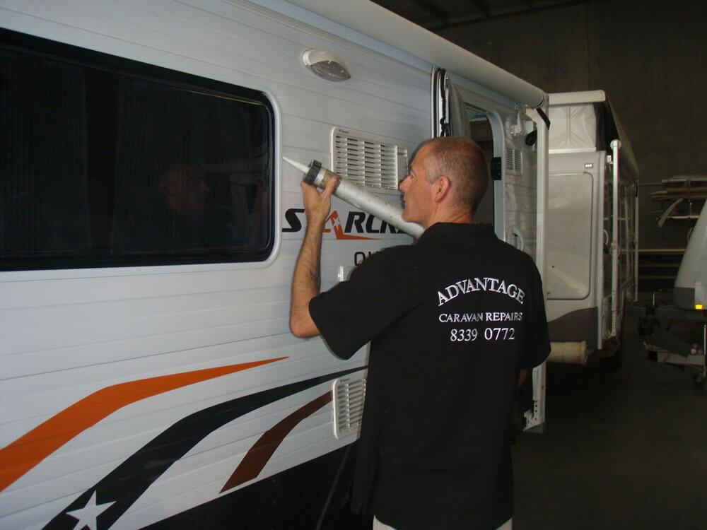 fixing leak in caravan